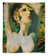 Aphrodite And  Cyprus Map Fleece Blanket