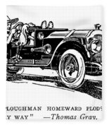Automobile Cartoon, 1914 Fleece Blanket