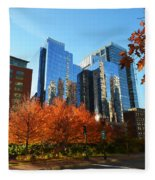 Autumn In Boston Fleece Blanket