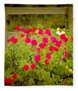 Fence Line Flowers Fleece Blanket