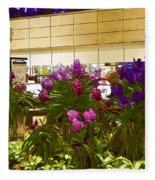 Beautiful Flowers Inside The Changi Airport In Singapore Fleece Blanket