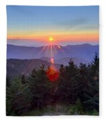 Blue Ridge Parkway Autumn Sunset Over Appalachian Mountains  Fleece Blanket