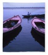 Boats On The Ganges River Fleece Blanket