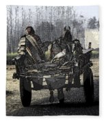 Bundled Up For The Cold In A Foggy Day In Rural India Fleece Blanket