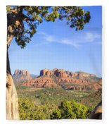 Cathedral Rock Framed By Juniper In Sedona Arizona Fleece Blanket