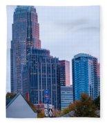 Charlotte City Skyline At Night Fleece Blanket