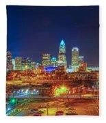 Charlotte City Skyline Night Scene Fleece Blanket