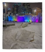Charlotte Queen City Skyline Near Romare Bearden Park In Winter Snow Fleece Blanket