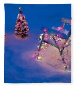 Christmas Lights On Trees And Lawn Chair Fleece Blanket