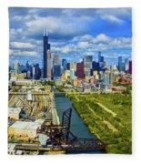 City At The Waterfront, Lake Michigan Fleece Blanket