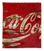 Coca Cola Sign Cracked Paint Fleece Blanket