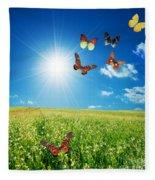 Colorful Buttefly Spring Field Fleece Blanket