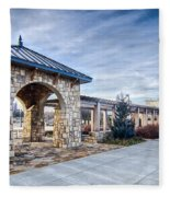 Cultured Stone Terrace Trellis Details Near Park In A City  Fleece Blanket