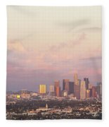 Elevated View Of City At Dusk, Downtown Fleece Blanket