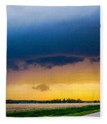 Elm Creek Nebraska Supercell Fleece Blanket