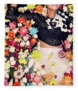 Fashion Model Posing With Flowers Fleece Blanket