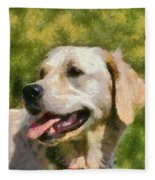 Golden Retriever Portrait Fleece Blanket