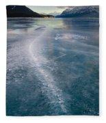 Ice Pattern On Frozen Abraham Lake Fleece Blanket