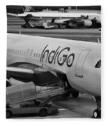 Indigo Aircraft Getting Ready In Changi Airport Fleece Blanket