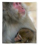 Japanese Macaques Fleece Blanket