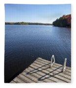 Lake In Autumn Fleece Blanket