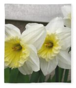 Large-cupped Daffodil Named Ice Follies Fleece Blanket