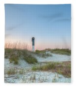 Sullivan's Island Dunes To Lighthouse View Fleece Blanket