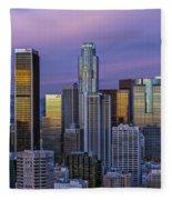 Los Angeles Skyline Sunset Fleece Blanket
