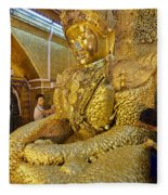 4 M Tall Sitting Buddha With Thick Layer Of Golden Leaves In Mahamuni Pagoda Mandalay Myanmar Fleece Blanket