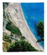 Myrtos Beach In Kefallonia Island Fleece Blanket