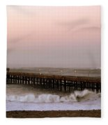 Ocean Wave Storm Pier Fleece Blanket