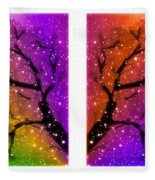 4-panel Snow On The Colorful Cherry Blossom Trees Fleece Blanket