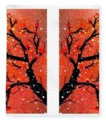 4-panel Snow On The Orange Cherry Blossom Trees Fleece Blanket