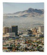 Panoramic View Of Skyline And Downtown Fleece Blanket