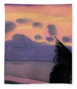 Pastel Palm Tree Sunrise Fleece Blanket