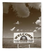 Route 66 - Midpoint Sign Fleece Blanket