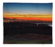 Seattle Skyline Waterfront Fleece Blanket