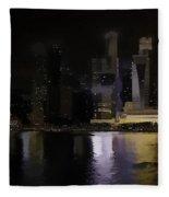 Singapore Skyline As Seen From The Pedestrian Bridge Fleece Blanket