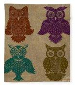4 Sophisticated Owls Colored Fleece Blanket
