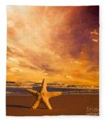 Starfish On The Beach At Sunset Fleece Blanket