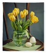 Still Life With Yellow Tulips Fleece Blanket