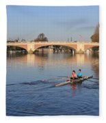 The River Thames At Hampton Court London Fleece Blanket