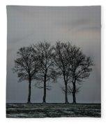 4 Trees In A Winters Landscape Fleece Blanket