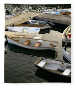 View Of Boats At A Harbor, Rockland Fleece Blanket