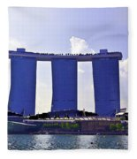 View Of The Towers Of The Marina Bay Sands In Singapore Fleece Blanket