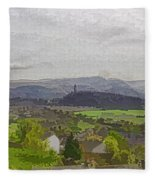 View Of Wallace Monument And Surrounding Areas Fleece Blanket
