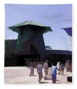 Visitors Heading Towards The Waterworld Attraction Fleece Blanket