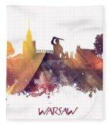 Warsaw City Skyline Fleece Blanket