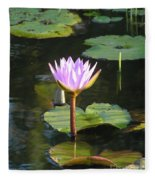 Pond Of Water Lily Fleece Blanket