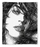 Woman Sketch Fleece Blanket